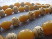 1920's Flapper Necklace  - Faux Amber and Faux Carved Ivory Beads (sold)